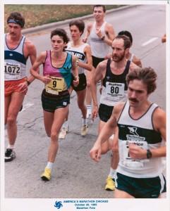 Véronique Marot au marathon de Chicago 85, aux côtés de Bryan Scobie, son entraîneur et compagnon