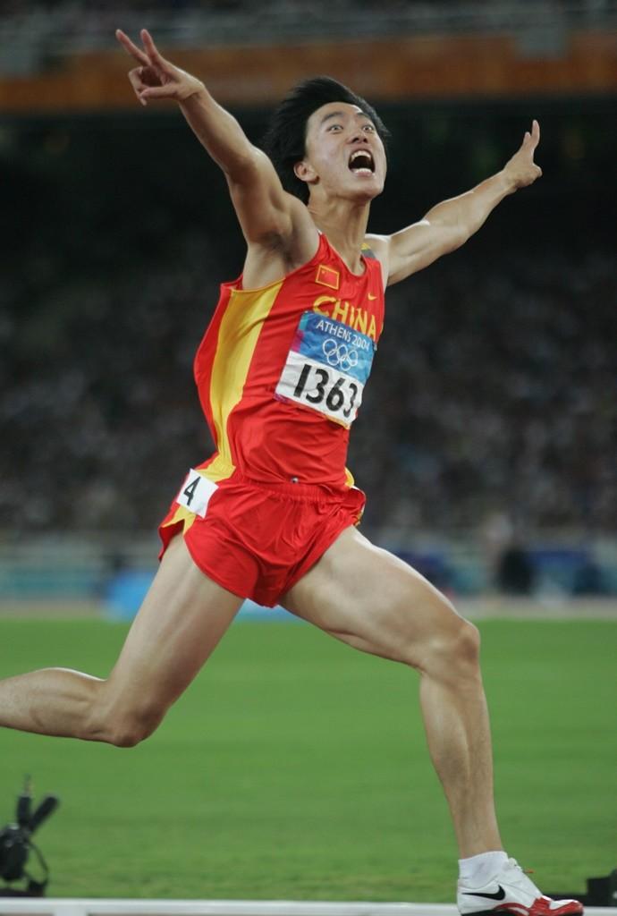 Liu Xinag exprimant sa joie lors de sa victoire aux J.O. d'Athènes en 2004