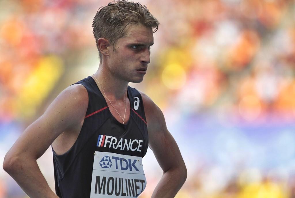 Bertrand Moulinet, le regard sombre à son arrivée des 20 km à Moscou
