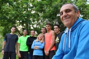 Gilles Garcia, et une partie des athlètes de son groupe demi-fond