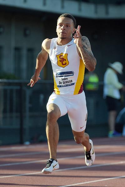 Le Canadien Andre de Grasse vainqueur du 100 et 200 aux NCAA (photo IAAF)