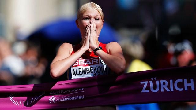 Elmira Alembekovla, championne d'Europe 2014 sur 20 km marche
