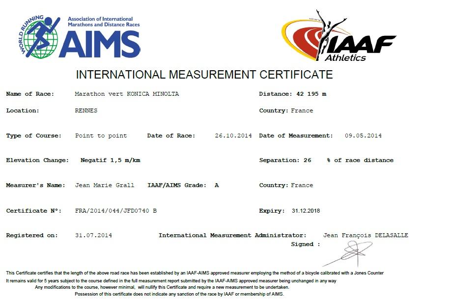 Le certificat de mesurage établi en 2014