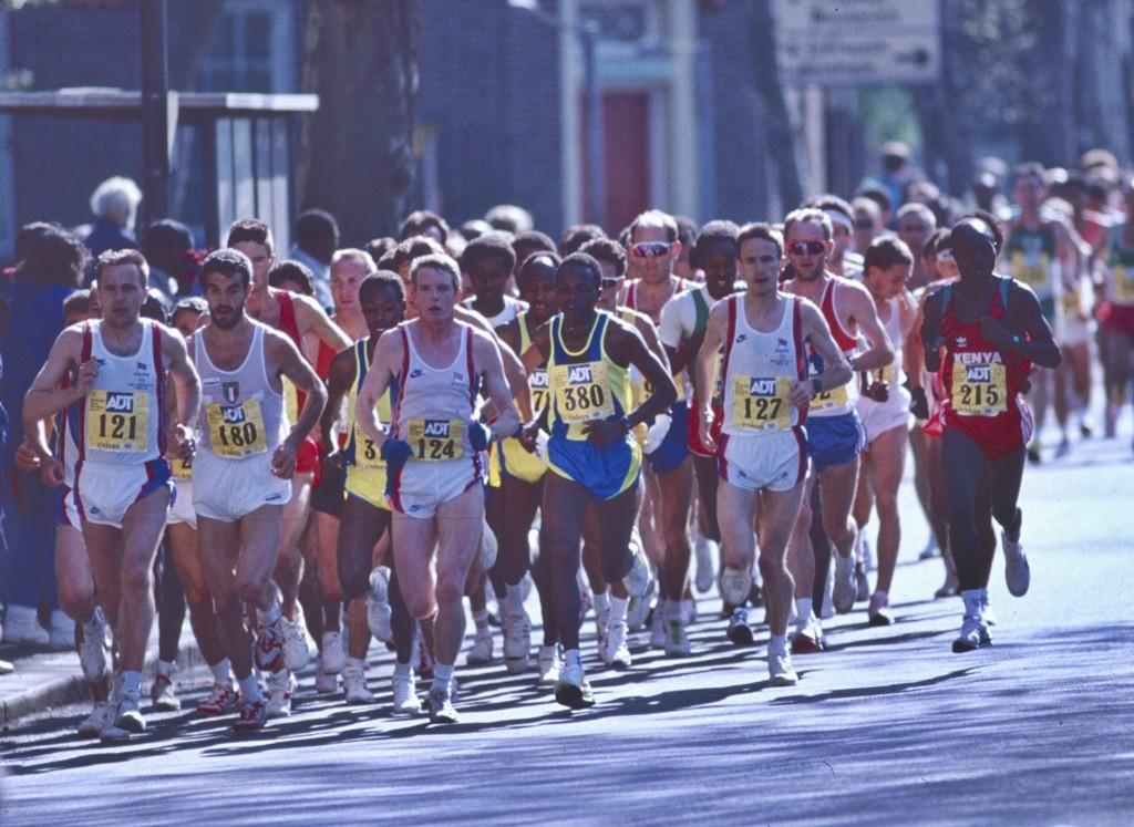 A Londres en 1991 lors de la Coupe du Monde, Pascal Zilliox second à droite dans le peloton
