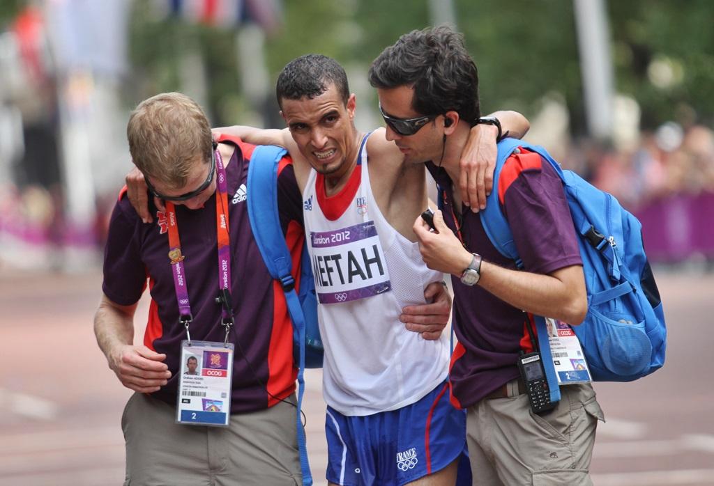 A. Meftah à Londres en 2012, une image qui illustre la déroute des marathoniens français lors de cette olympiade