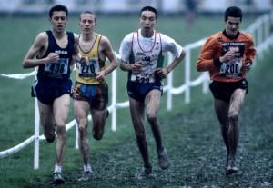 Fouad Chouki (à g.) au France de cross 1995 avec B. Tahri (au centre) et M. Baala (à dr.)