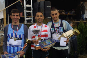 Le podium du France de cross court avec Driss Maazouzi et Fouad Chouki