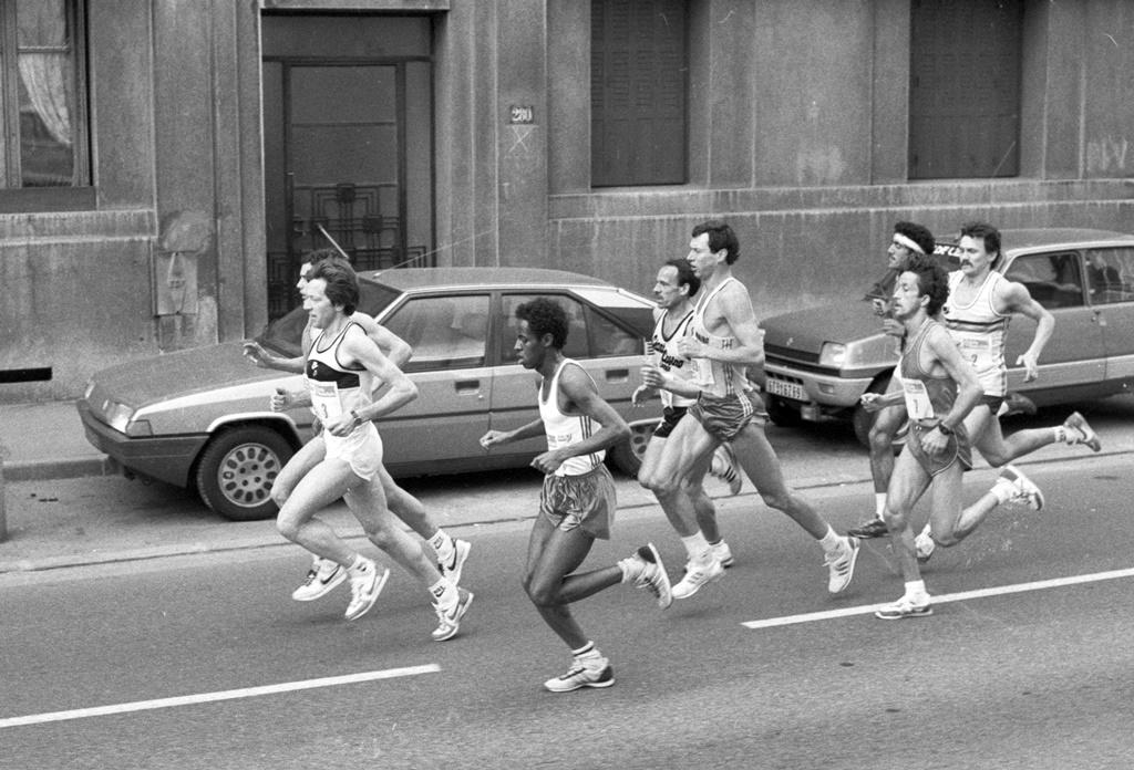 Alexandre Rachide au Marathon de Lyon en 1985 (photo G. Bertrand)